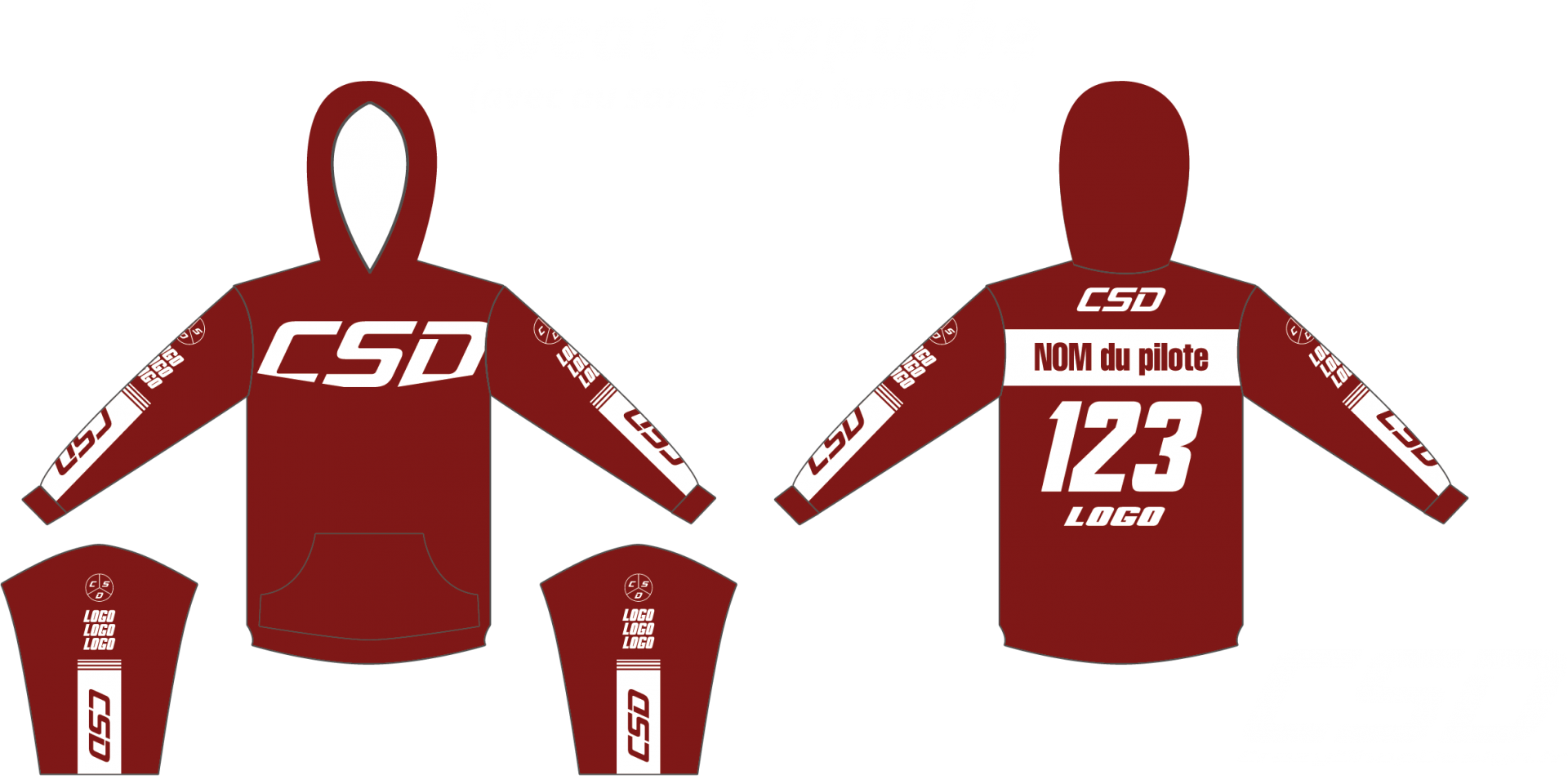 Sweat csd bordeau blanc