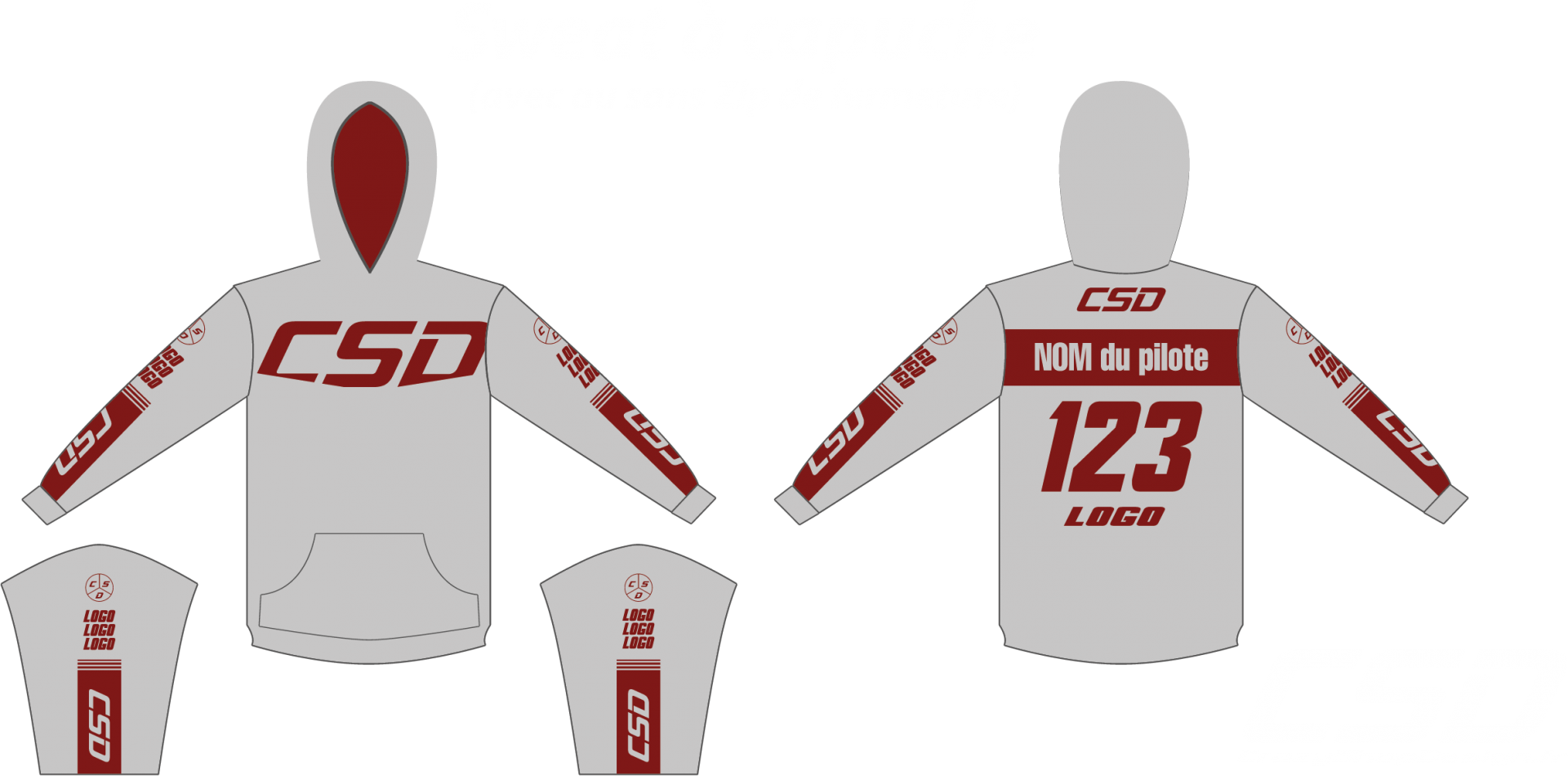 Sweat csd gris bordeau