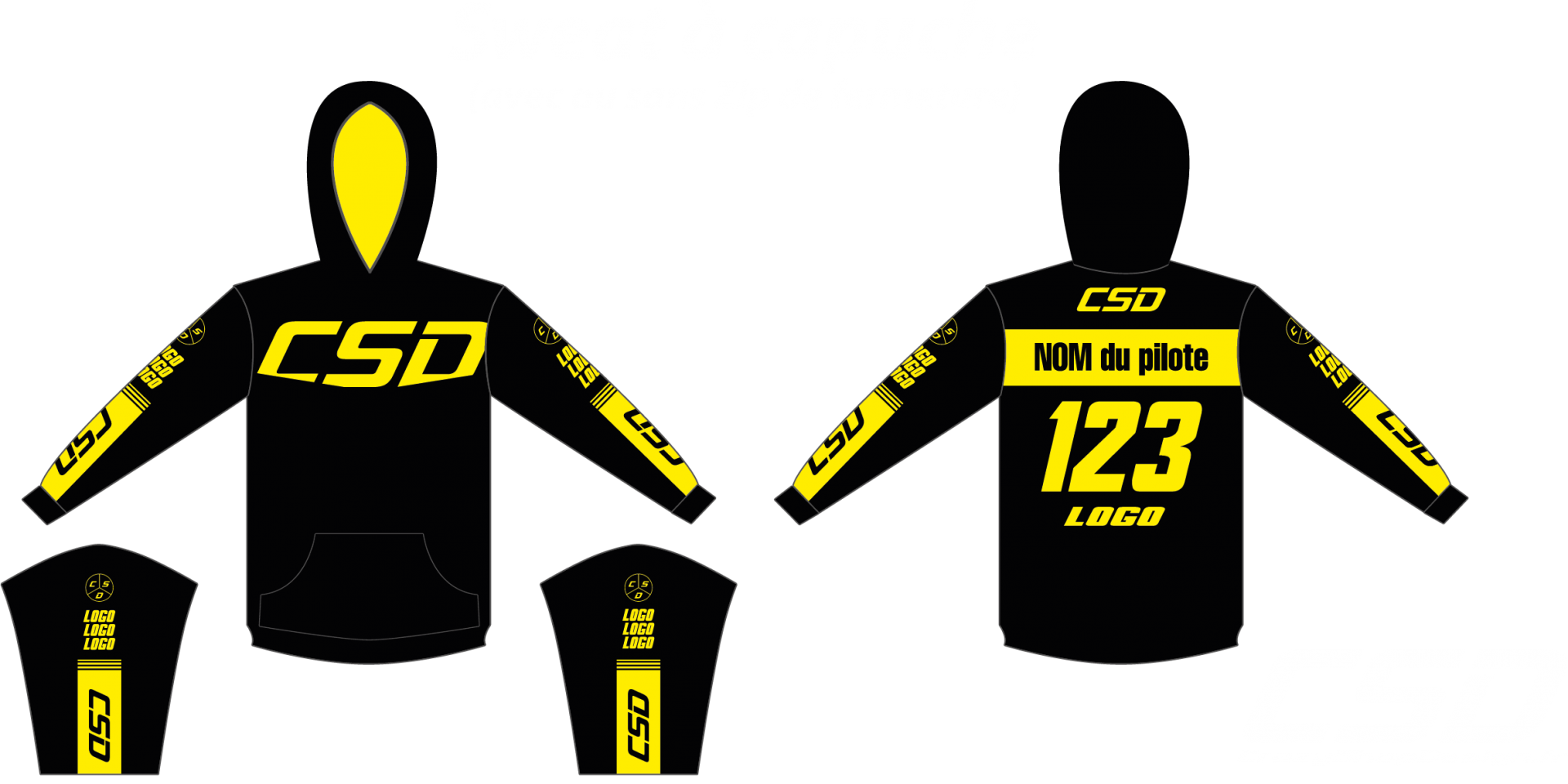 Sweat csd noir jaune