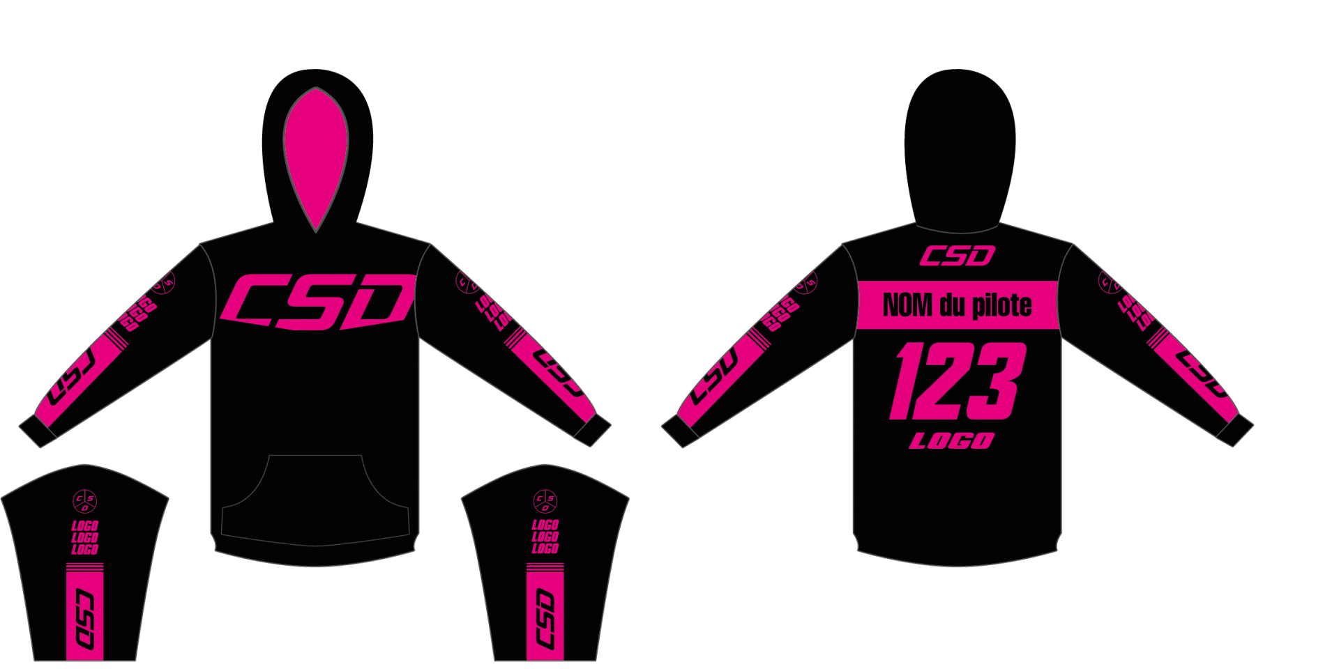 Sweat csd noir rose