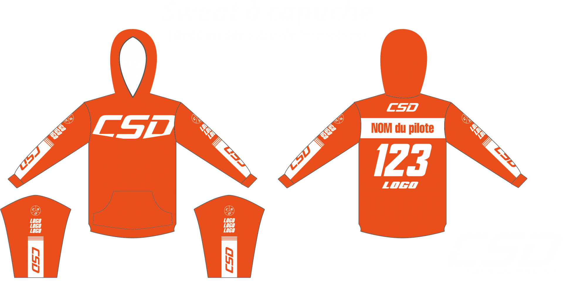 Sweat csd orange blanc