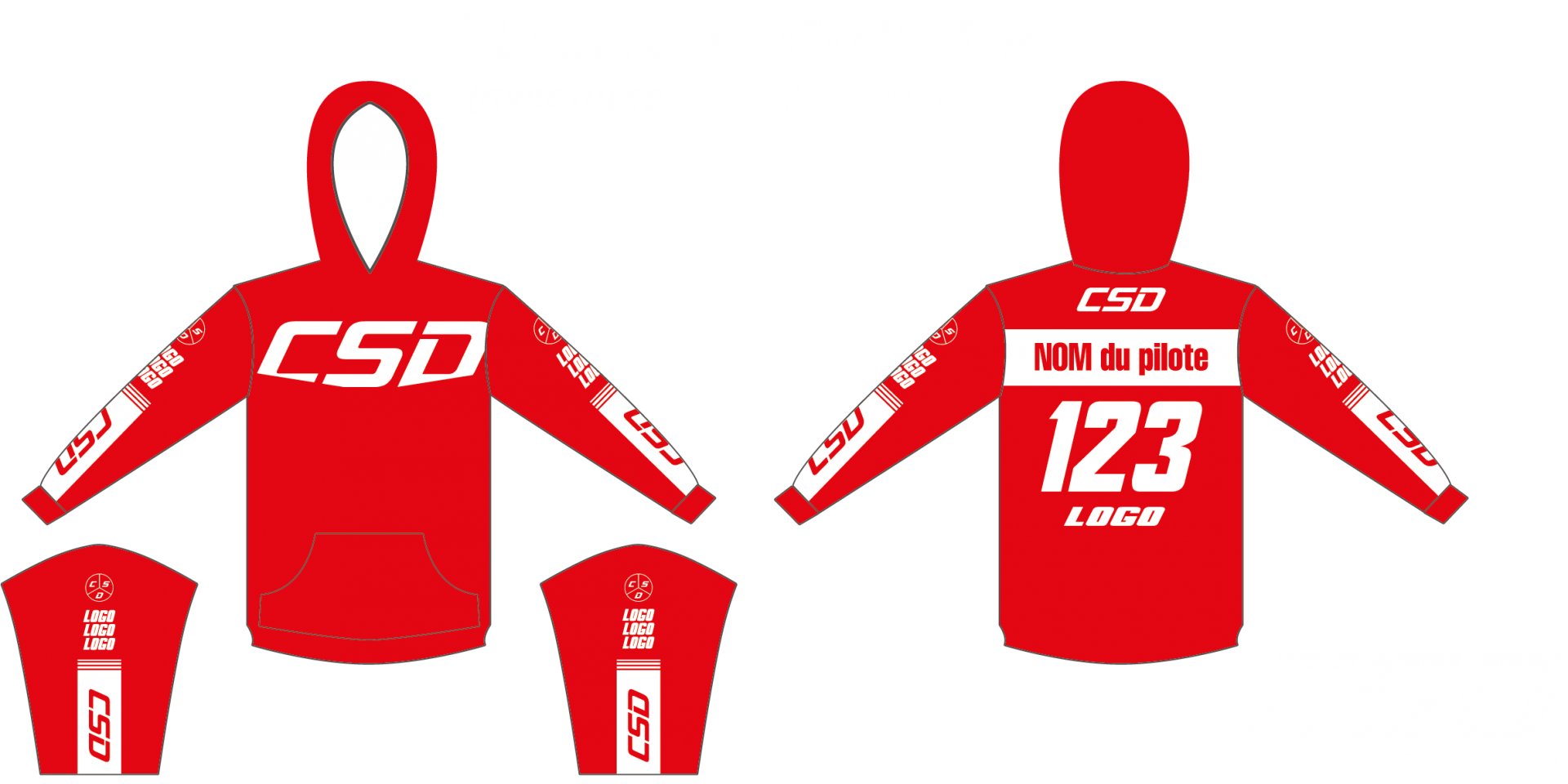 Sweat csd rouge blanc